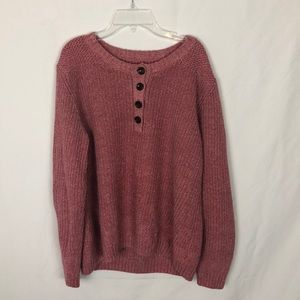 Pink and white 3/4 button sweater